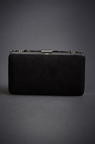 Suede Embroidered Box Clutch with Sling
