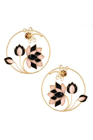 Lotus Enamel Stud Earrings