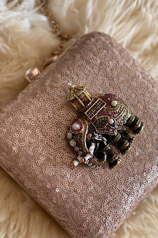 Bhavna Kumar Sequin Box Clutch with Sling