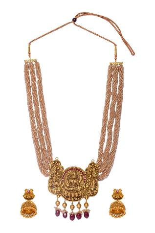 Carved Bead Pendant Necklace Set