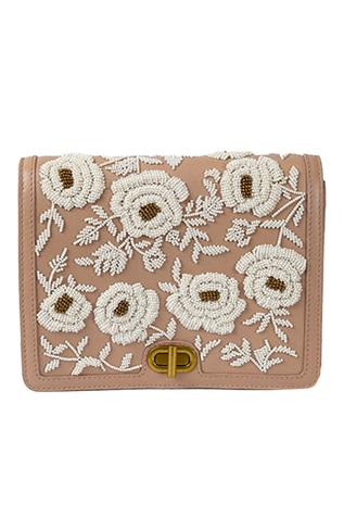 Floral Embroidered Flap Sling Bag
