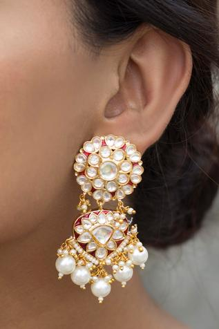 Just Shradha's Floral Stone Danglers