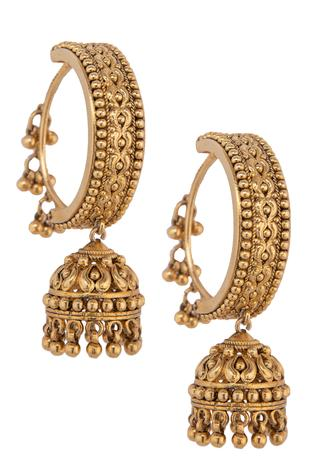 Carved Hoop Jhumkas