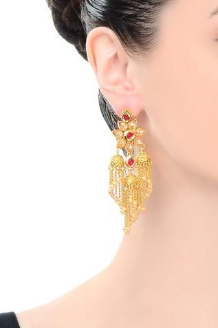 Gold finish tassel drop earrings