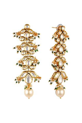 Kundan Floral Bead Drop Danglers