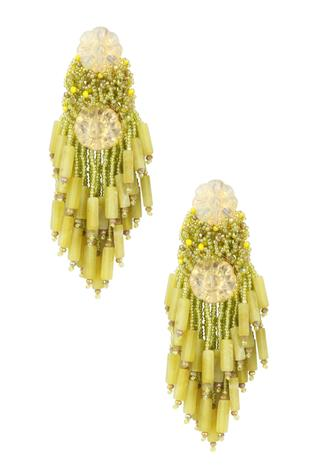 Floral Bead Tassel Earrings