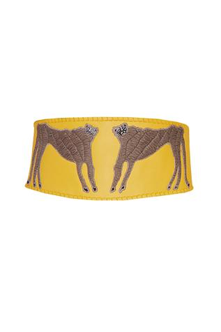 Yellow wide leather corset belt