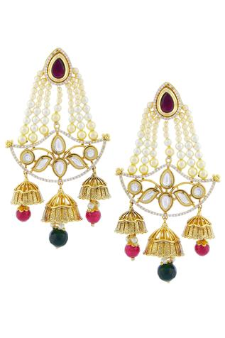 Polki Jhumka Drop Chandeliers