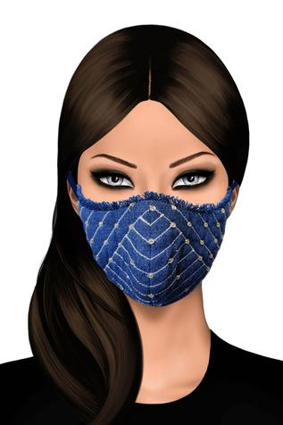 Denim Embellished Face Mask (Single Pc)