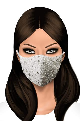 Lace Embellished Face Mask (Single Pc)