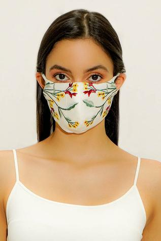 Floral Embroidered Face Mask (Single Pc)