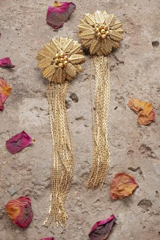 Floral Fringe Long Earrings