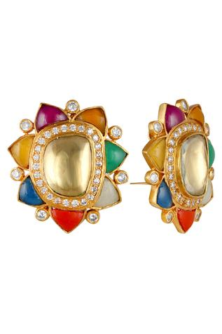 Kundan Floral Stud Earrings