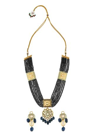 Kundan Pendant Drop Necklace Set