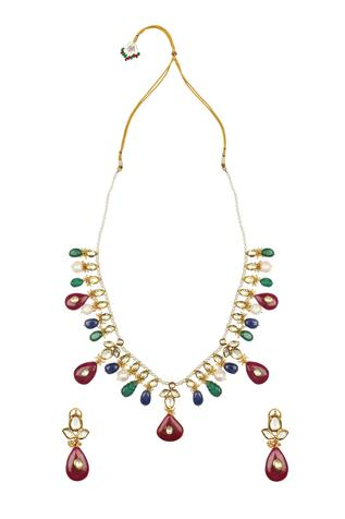 Kundan Stone Drop Necklace Set
