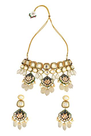 Kundan Pendant Drop Choker Set