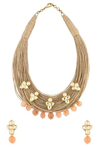Jute Kundan Necklace Set