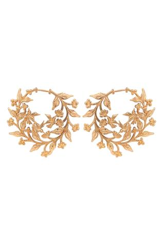 Handcrafted Floral Carved Hoops