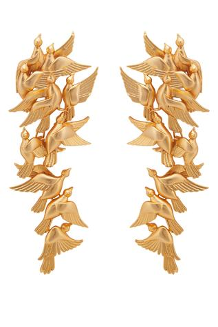 Handcrafted Dove Long Statement Earrings