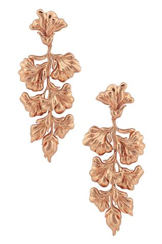 Handcrafted Floral Long Statement Earrings