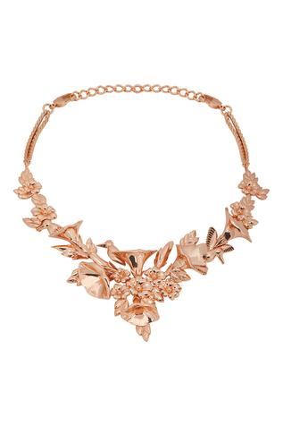 Handcrafted Floral Carved Collar Necklace