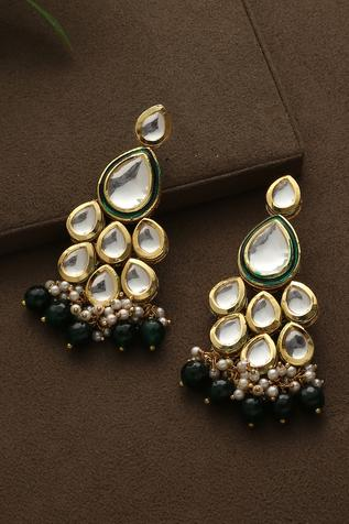 Kundan Danglers with Jade Stones