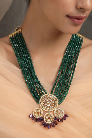 Kundan Floral Pendant Necklace