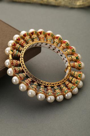 Handcrafted Pacheli Meenakari Jadau Bangle