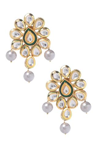 Handcrafted Kundan Floral Bead Drop Danglers