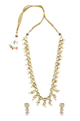 Handcrafted Kundan Bead Drop Necklace Set