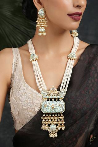 Kundan Polki Pendant Long Necklace Set