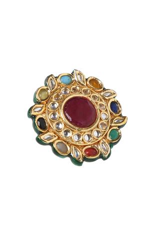 Handcrafted Polki Kundan Floral Ring