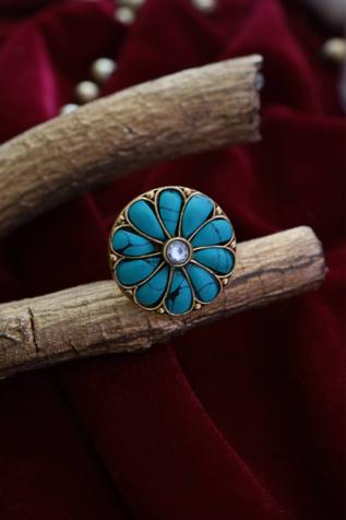 Handcrafted Kundan Floral Ring