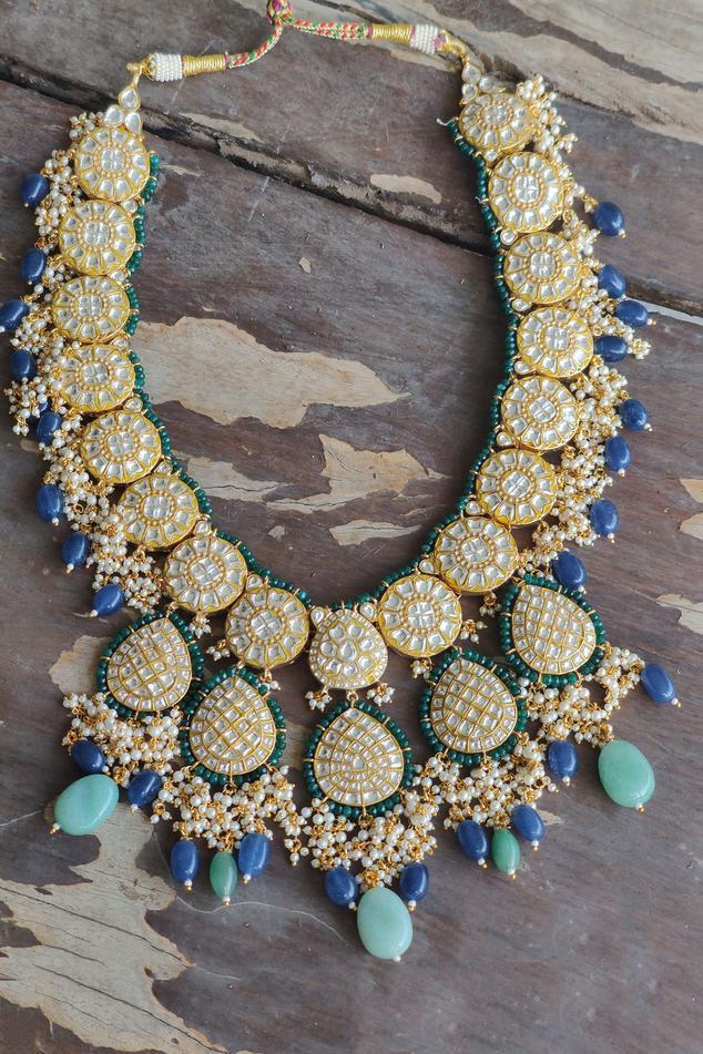 Stone Pendant Drop Necklace Set