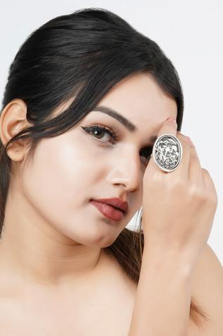 Neeta Boochra Handcrafted Oxidized Carved Ring