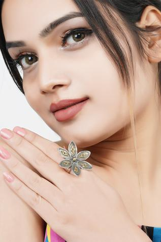 Neeta Boochra Handcrafted Oxidized Floral Carved Ring