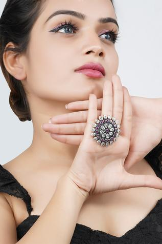 Neeta Boochra Handcrafted Floral Stone Ring