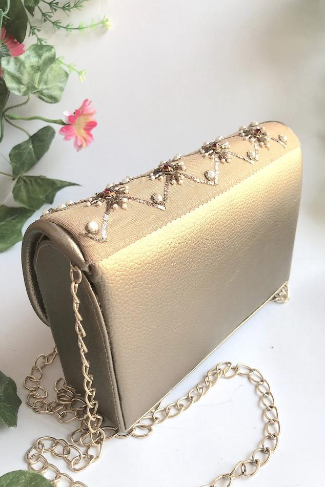 Silk Embroidered Flap Sling Bag