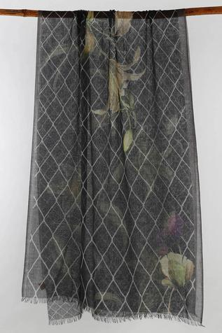 Silk Cashmere Floral Print Scarf