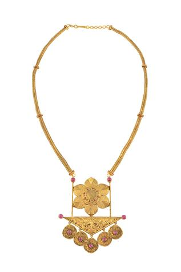 Stone Floral Pendant Necklace