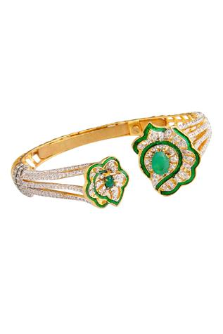 Crystal Floral Open Cuff (Single Pc)