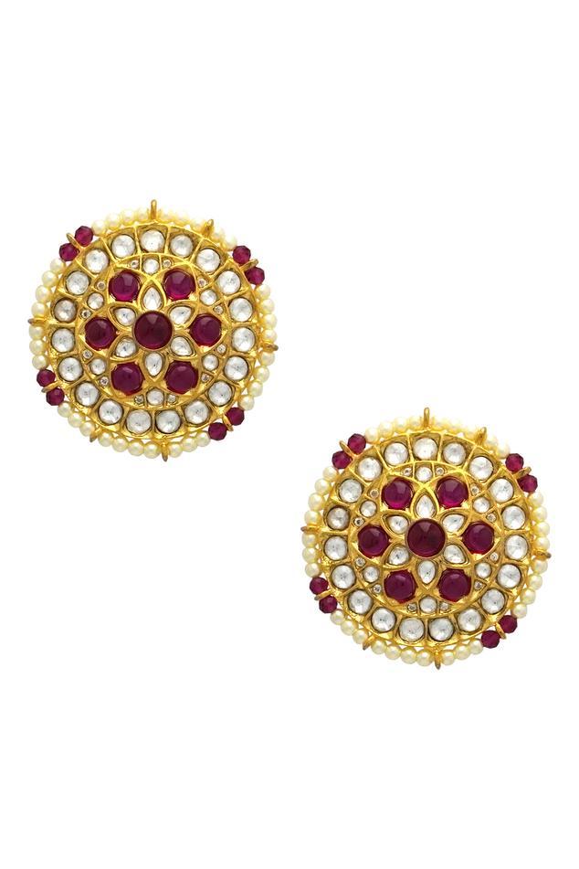 Tizora Kundan Round Stud Earrings