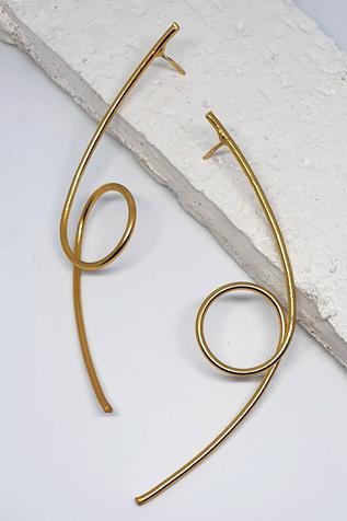 One Nought One One Handcrafted Abstract Wire Statement Earrings