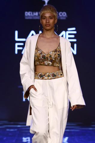 Jacket with Embroidered Pant Set