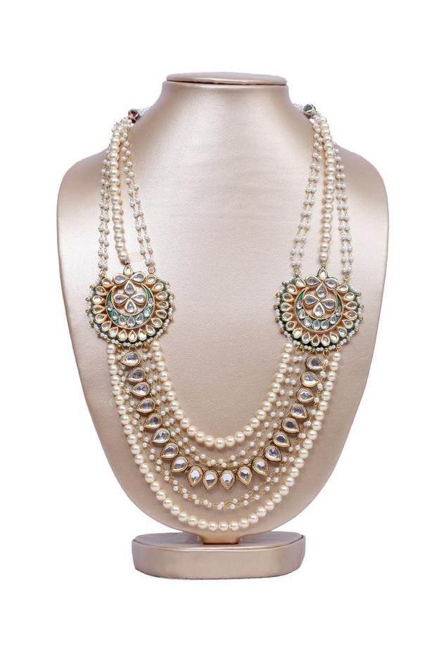 Kundan and pearl motif layered necklace
