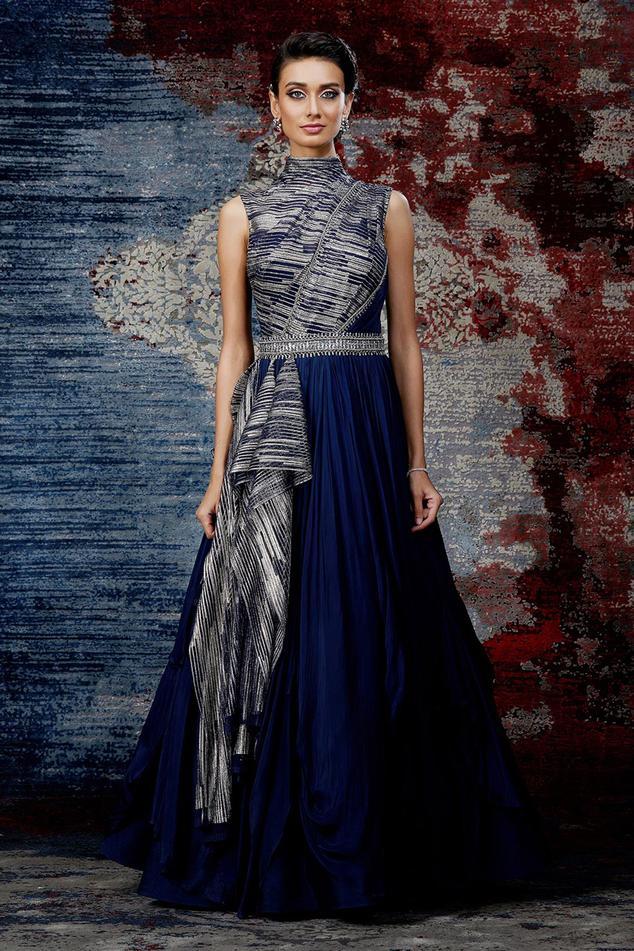Draped Metallic Gown