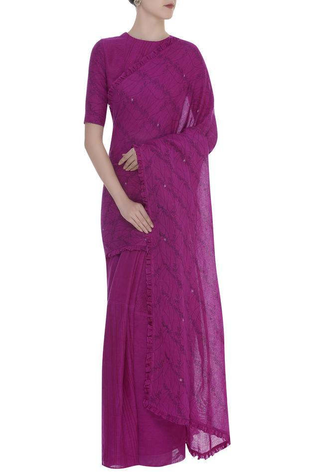 Printed saree with ruffle border