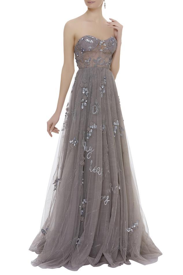 Embellished Bandeau Gown