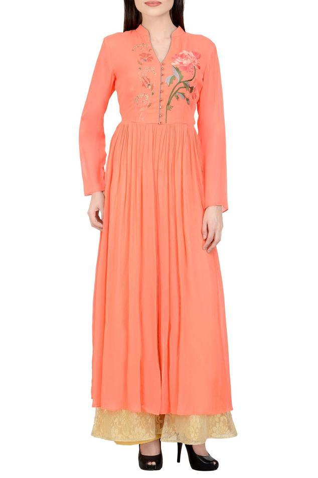 Peach & golden embroidered kurta set..