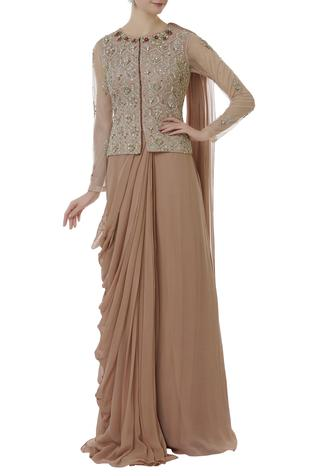 Embroidered jacket blouse with pre-draped saree
